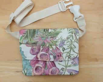 Wildflower Waist Bag, Belt Bag, Small Bum Bag, Money Belt Pouch, Slimline Fanny Pack