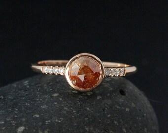 FLASH SALE Rose Cut Peach Diamond Ring - Rose Gold - Boho Brides