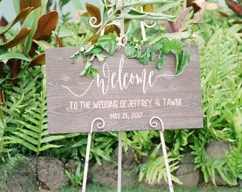 Custom Welcome Wedding Sign, Name & Date Wedding sign, Wedding Decor Handmade in Hawaii Up-Cycled Wooden Sign, Wood wall art
