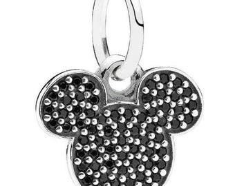 Authentic Pandora Mickey Mouse Face Black Czs Dangle Charm