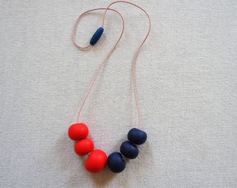 Handmade Polymer Clay Geometric Beaded Necklace Navy and Red