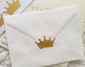 Gold Crown Envelope Seals - Wedding Envelope Stickers - Princess Stickers for Journal or Diary - Cute Planner Stickers