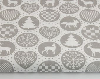 100% cotton fabric piece 160 x 50 cm, 100% cotton print grey patterned Christmas in circles
