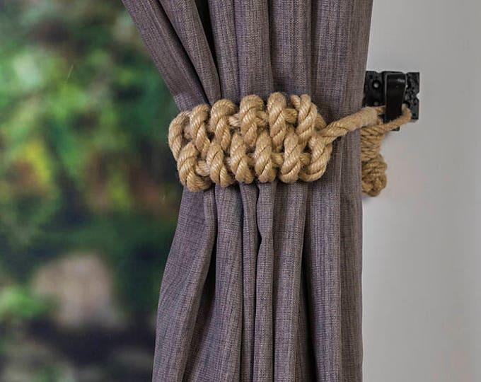 Hemp Rope Knot Nautical Curtain Tie-Backs/ Shabby Chic beige brown Curtain hold-Backs / Nursery Window Treatment / Rope Ties / home decor
