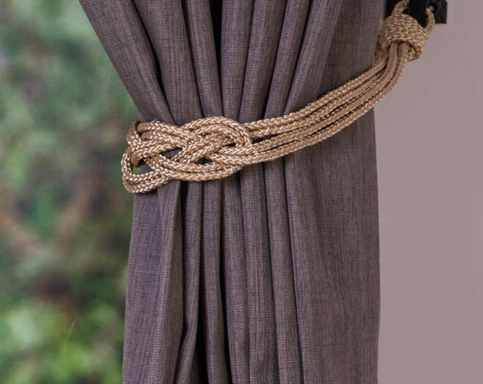 Clearance rope red knot curtain tiebacks small shabby chic nautical style festive curtain hold-backs holiday decoration home gold