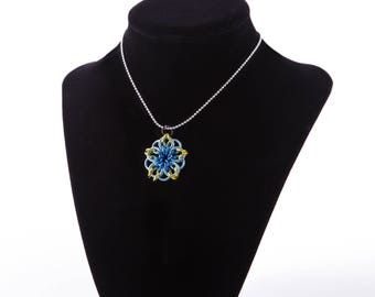 Yellow and Blue Celtic Star Necklace