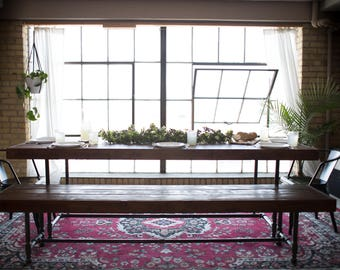 Rustic Industrial Pipe Leg Dining Table