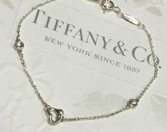 Authentic Tiffany & Co. Elsa Peretti By The Yard Open Heart Diamond 0.06ct Silver Bracelet