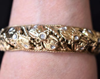 Vintage Floral Flower Ornate Bangle Statement Bracelet Rhinestone Delicate Retro Boho Costume Jewelry 8.5""