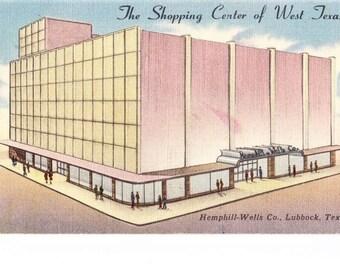 Vintage 40s Lubbock TX Texas Linen Postcard Hemphill Wells Co Department Store US Travel Souvenir Unposted