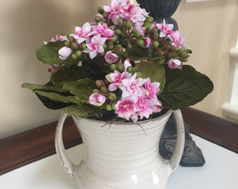 Pink Kalanchoes Silk Arrangement, Faux Kalanchoes, Flower Arrangement in Ceramic Pot, Artificial Flower Arrangement, Gift