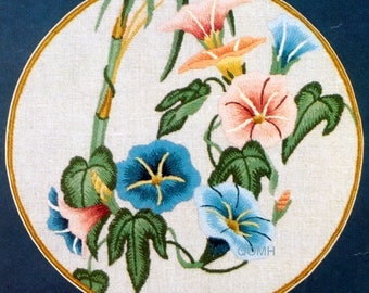 Elsa Williams PRELUDE Morning Glories Oriental VTG Crewel Embroidery Kit Linen