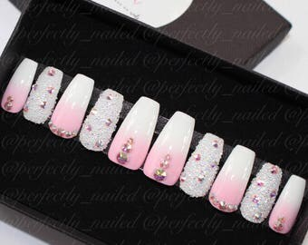 Pink to white ombre nails with genuine swarvski crystals and crystal pixie • Handpainted False Nails • Fake Nails • Press on Nails • Stick o