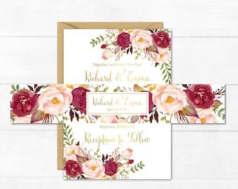 Burgundy Gold Boho Printable Personalised Belly Band Floral Wedding Invitation Custom Invite