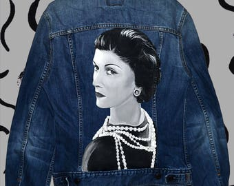 Coco Chanel hand painted denim jacket