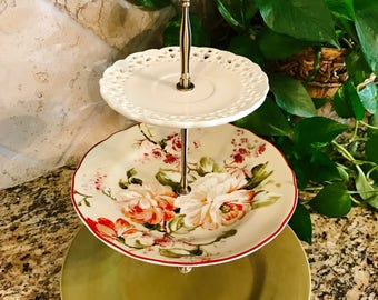 Three Tier Stand, Cake Stand, Tray, Cupcake Stand, Floral, Spring, Vanity Tray, Center Piece, Jewelry Stand