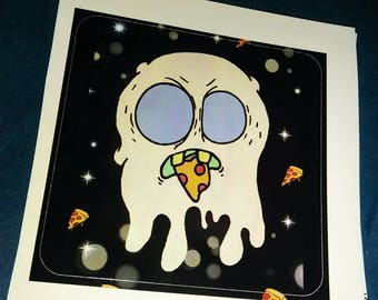 Space Ghost Eating Pizza Sticker