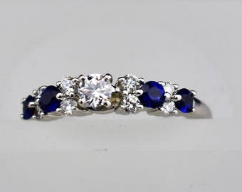 Diamond and Sapphire 14K White Gold Engagement Ring