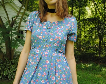 Vintage Dress, Floral Dress, 80's Clothing, 90's Clothing, Light Blue, Pastel, Soft Grunge, Grunge, Vintage Clothing, Small, Petite, Medium
