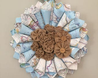 Paper Wreath - Atlas paper Wreath with burlap flower centerpiece - Teacher gift - World Traveler gift