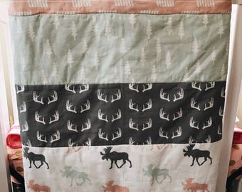 Woodland Quilt, toddler bedding, Custom blanket, custom  quilt, navy quilt, deer quilt, moose quilt, woodland nursery decor, twin size quilt