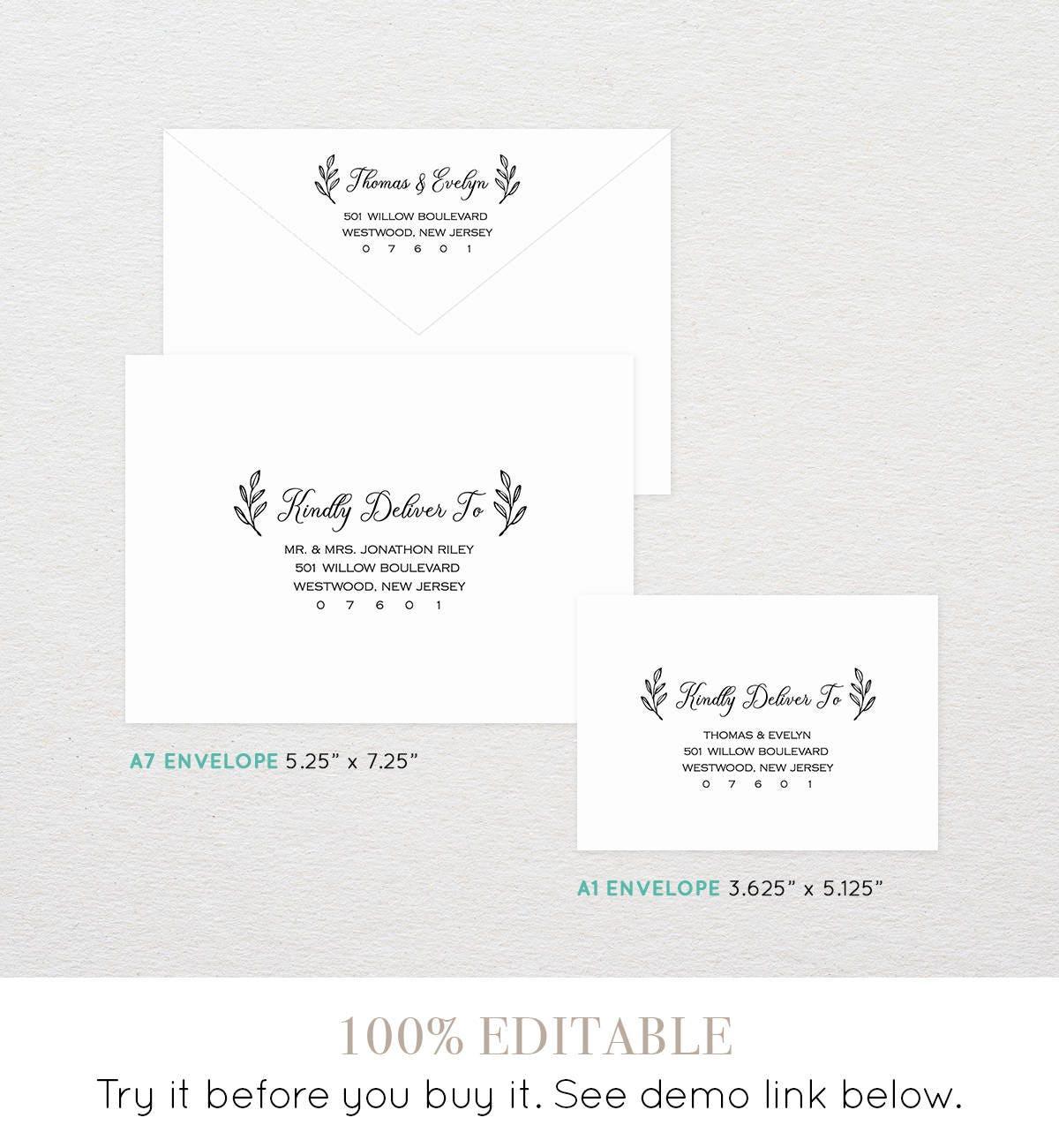 Envelope template diy printable rustic wedding