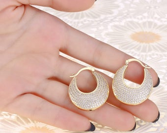2017 Drop Earrings AAA White Cubic Zirconia Micro Pave Gold Color Wedding