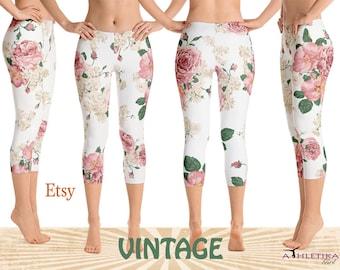 Vintage Roses Soft Capri Leggings Retro Pattern Design Girl Women's Woman Pants Pink Floral Low High Rise Handmade Ankle Yoga Dance Tights