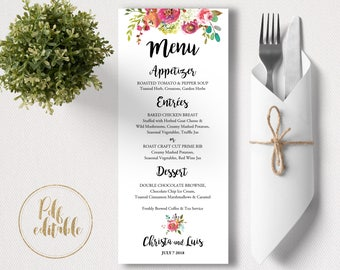 Menu Printable Template. Pdf Menu. Editable Menu. Printable Menu. Wedding Menu Template. Floral Menu