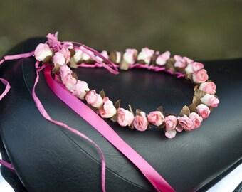 Romantic fabric flower Crown