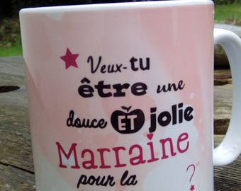 Godmother Godfather Mug DUO / will you be my godmother? /Veux you be my godfather?