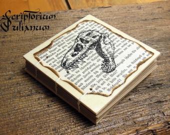 Pocket-size T-Rex skull notebook handdrawn wooden cover animal gothic grimoire herbarium dinozaur sketchbook journal book of shadows Ostara