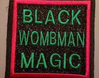 Red Black Green with glitter Black Wombman Magic patch