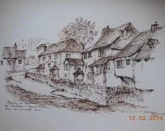 Ségur Castle to the early 1900s, ink and pen on paper