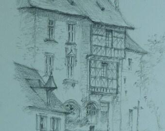 Quick study in pencil, medieval village
