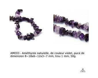 Améthyste naturelle, puce de dimension 8-18x6~12x3~7 mm, trou 1 mm, 50g.   (APS-PH- G-R192-B21-améthyste-puce-50g)