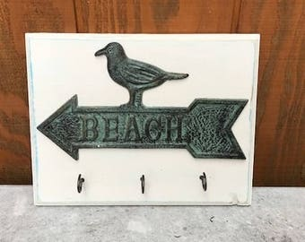 Cast iron key rack, Rustic hook, beach sign, beach key rack