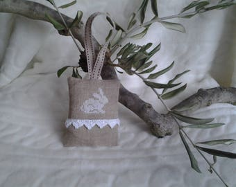 Pincushion hanging Bunny embroidered white cotton, linen, crochet lace.