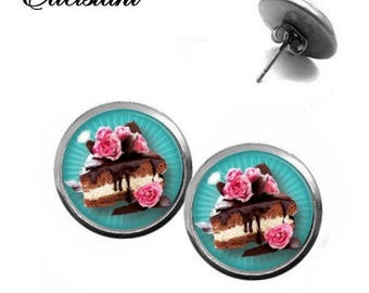 Earrings stainless steel cabochon jewelry chocolate dream