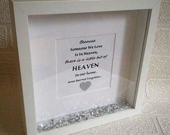 Because someone we love is in heaven, in our home, wedding, personalised gift, memorial gift, loss of a loved one, a little bit of heaven.