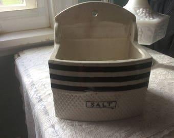 Antique Ceramic Salt Box, Hallmarked On Bottom