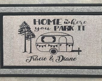 Home Is Where You Park It Welcome Mat Travel Trailer Decor RV