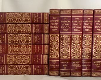 The American People's Encyclopedia 12 Volume Set, 1956 edition, Red Decorative Books, Burgundy Books, Vintage Books, Bundle of Red Books