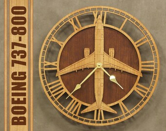 Boeing 737-800 Wooden Wall Clock, Aircraft Gift, Airplane Gift, Aviation Gift, Pilot Gift, Wood Clock,