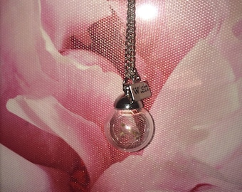 Beautiful Glass Pendant Necklace with a Glass Ball containing a Wish.