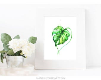 Tropical Peace. Print from original abstract watercolor illustration by Cara