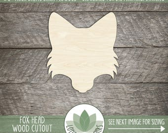 Fox Head Wood Cutout, Fox Laser Cut Shape, Wooden Fox, Unfinished Wood Shapes For DIY Projects, Many Size Options Available, Party Decor