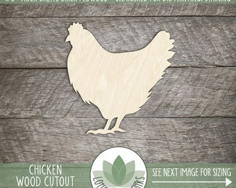 Chicken Wood Cut Shape, DIY Laser Cut Wood Shapes, Farm Animal Wood Cut Shape