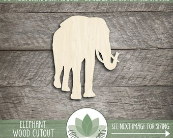 Wood Elephant Shape, Unfinished Wood Elephant Laser Cut Shape, DIY Craft Supply, Many Size Options