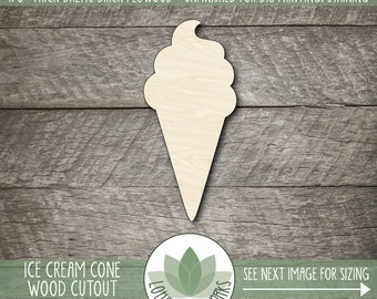 Ice Cream Cone Wood Cutout, Laser Cut Wooden Ice Cream Cone Shape, Unfinished Wood For DIY Projects, Many Sizes, Ice Cream Party Decor